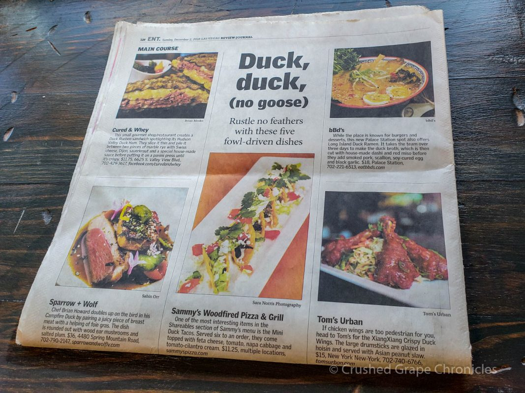 Article in the RJ on Duck Dishes around the Valley