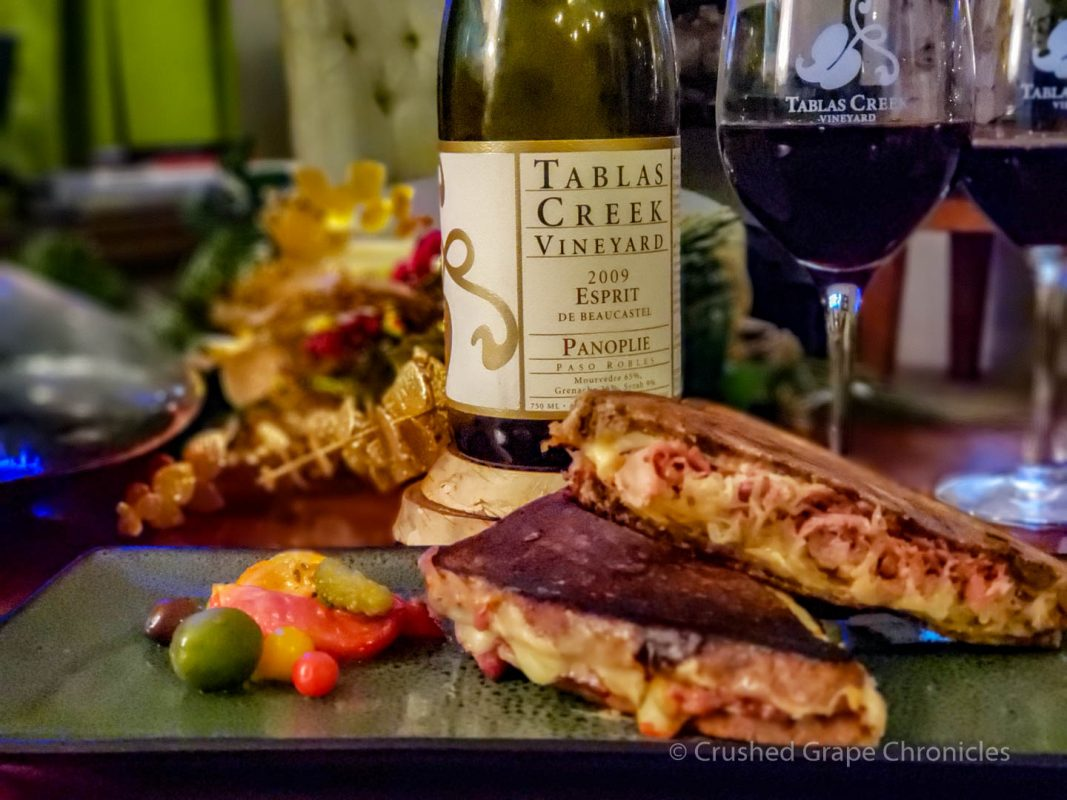 Duck Rueben from Cured and Whey with the 2009 Tablas Creek Panoplie