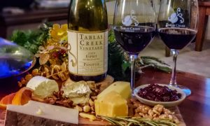 Assorted cheeses with the 2009 Tablas Creek Panoplie