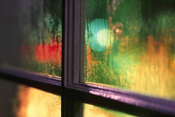 holiday lights through window