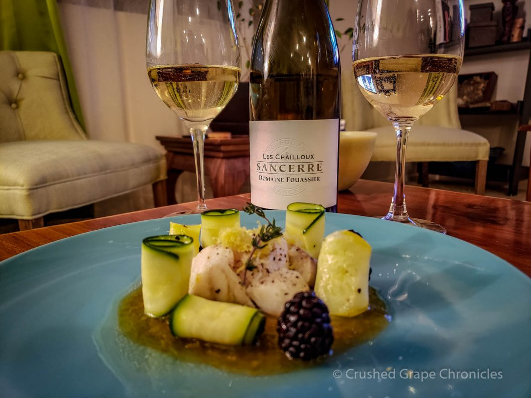 Les Chailloux Sancerre with cod and lemon purée