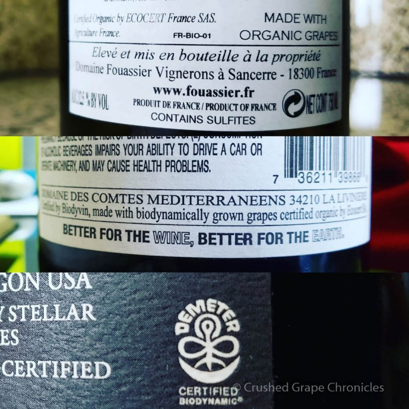 Biodynamic logos on labels