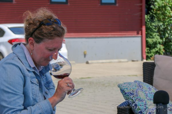 Robin Smelling 1899 Pinot from Illahe Vineyards
