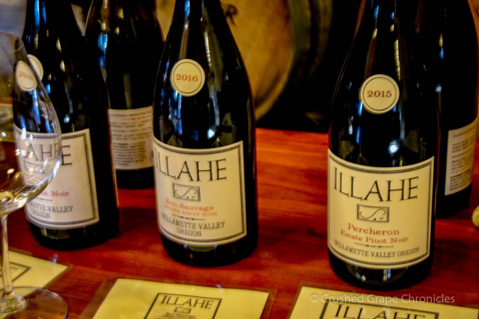 Illahe Vineyard Tasting room, Bottle Shots