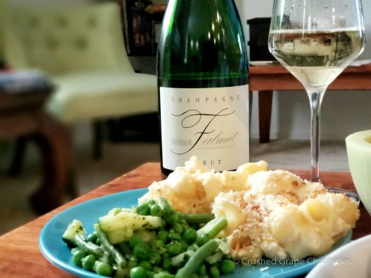 Lobster Mac & Cheese, green vegetables and a Nathalie Falmet Brut Champagne