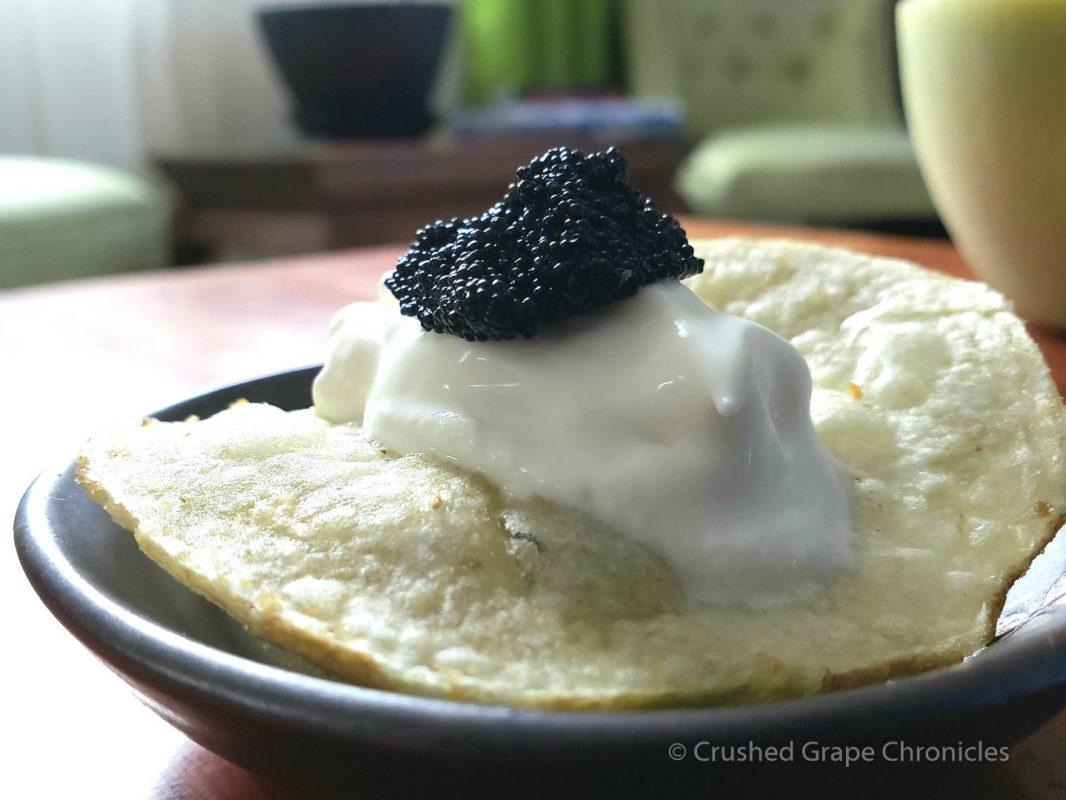 Caviar Creme Fraiche on a potato chip