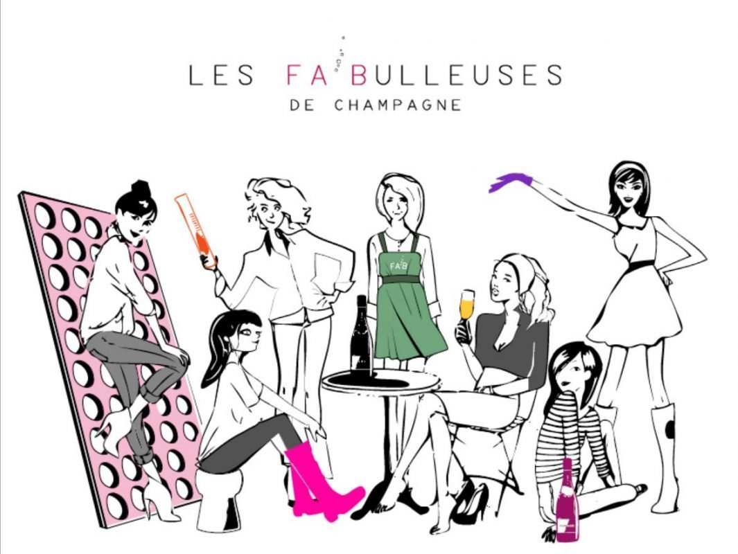Les Fa'Bulleuses cartoon of Women in Champagne
