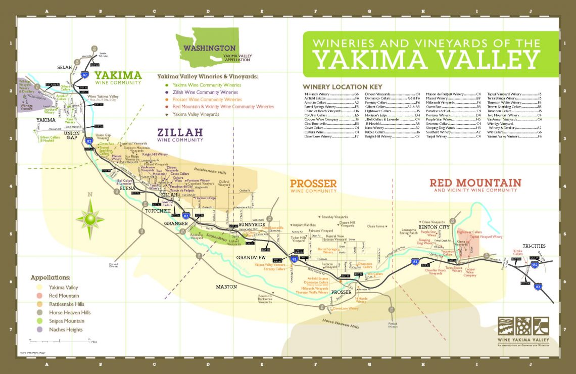 Map Yakima Valley 2019 courtesy of WineYakimaValley.org