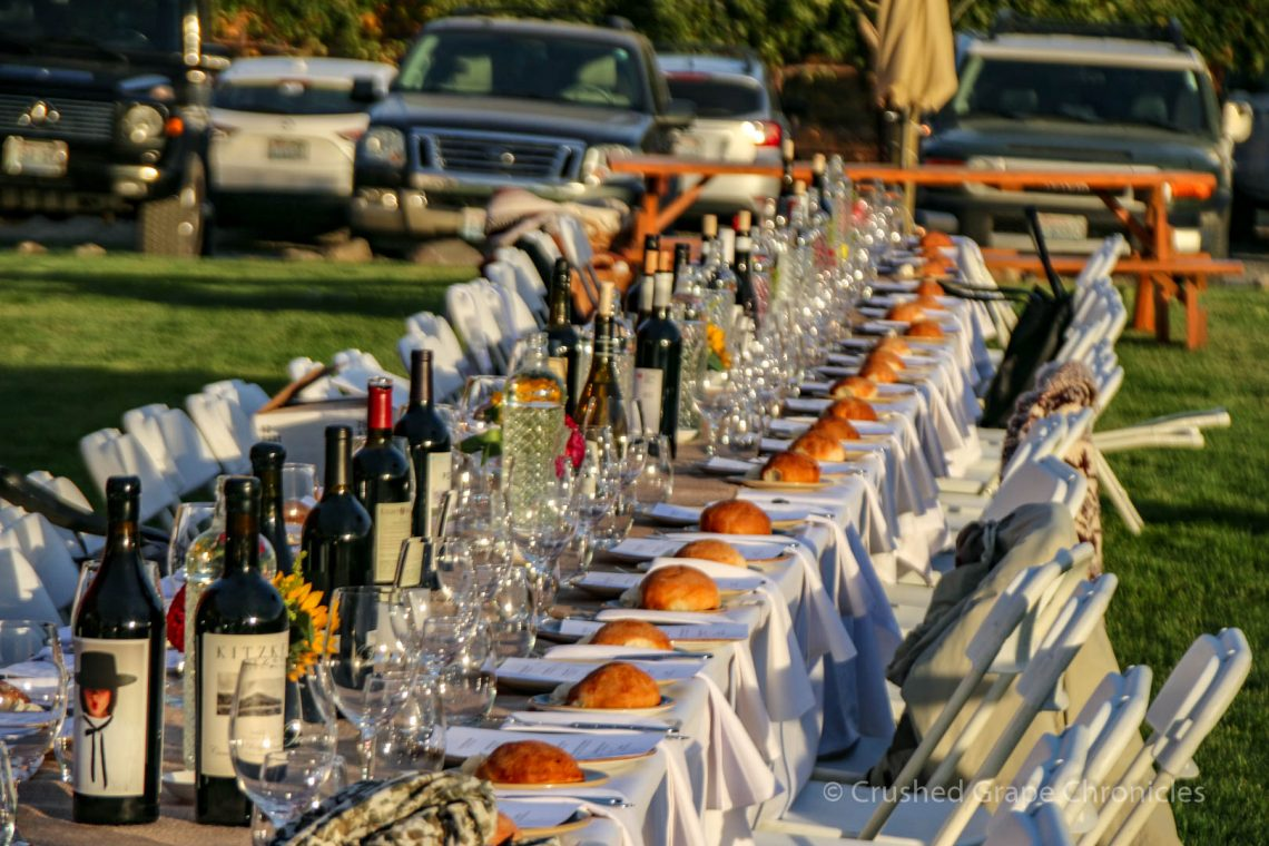 Table set for Dinner at Owen Roe Winery