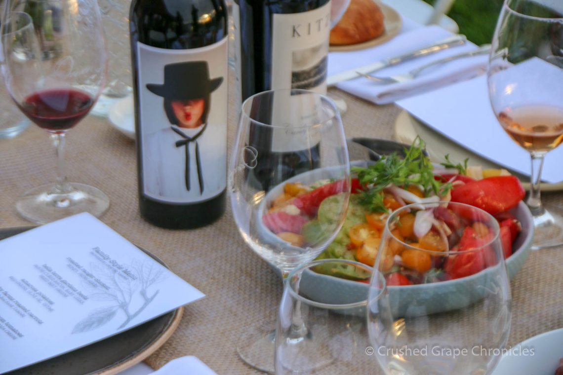 Salad and wine from Upsidedown Cellars
