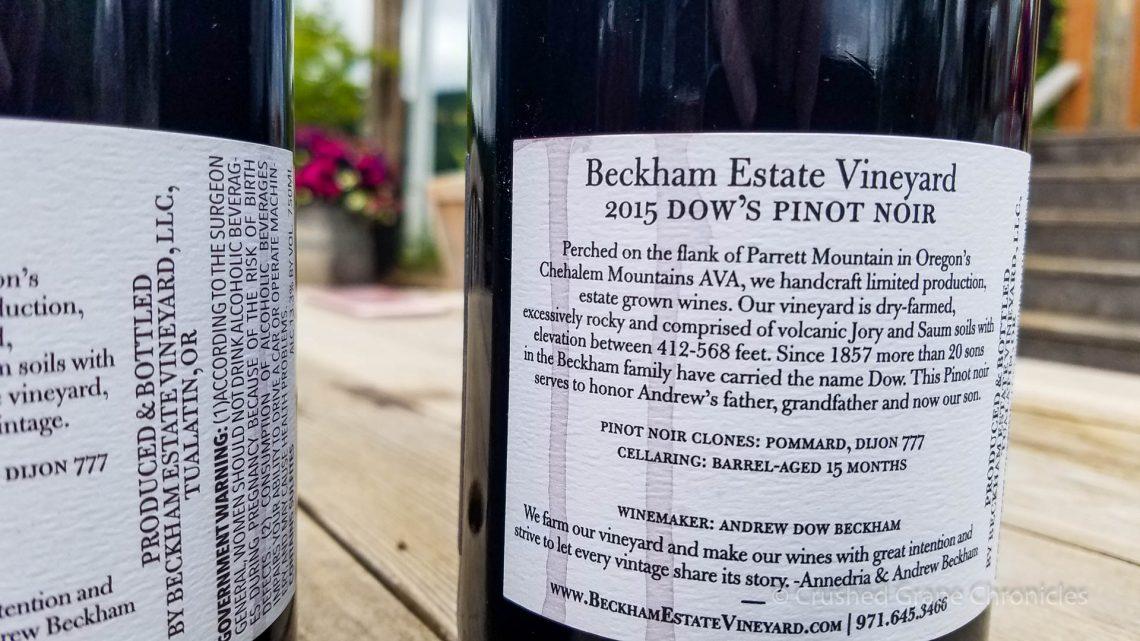 Beckham Vineyard Dows Pinot noir 2015 3042