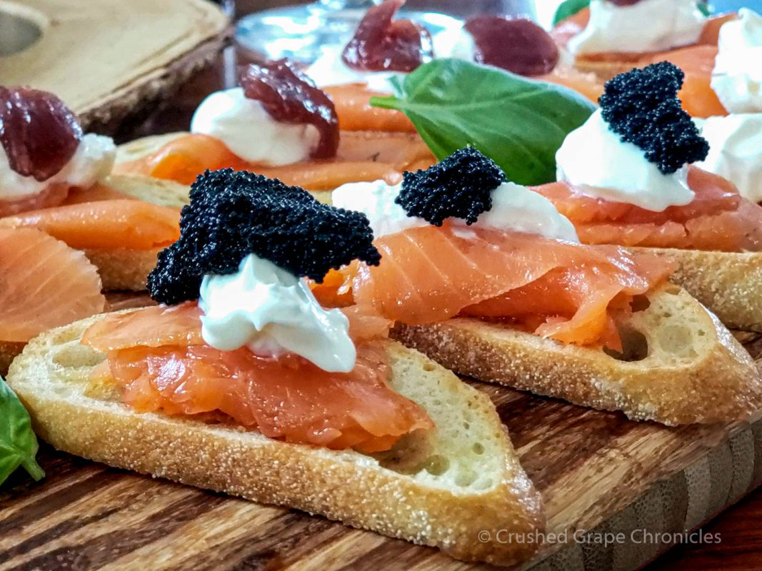 Salmon Crostini with raspberry jam or caviar