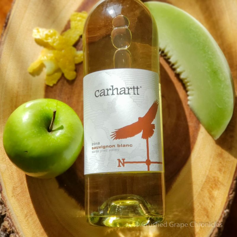 Carhartt 2018 Savignon Blanc bottle shot with apple, lemon zest and honeydew melon