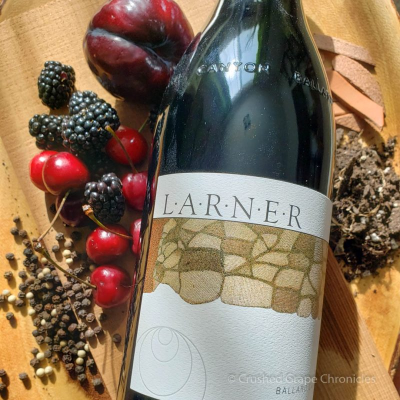 Larner 2014 Syrah Ballard Canyon  with plum, blackberry, cherry, peppercorn, earth and leather.