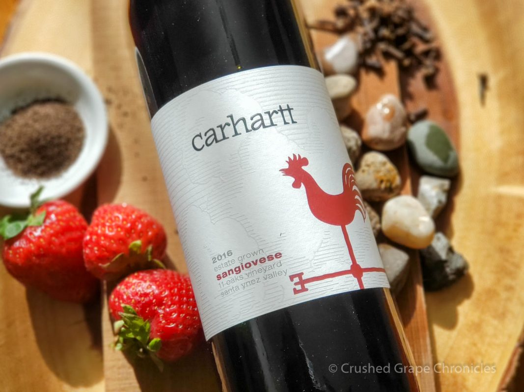 Carhartt 2016 Estate Sangiovese with wet stones, strawberries, black tea, clove, and cedar plank