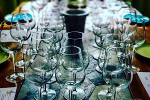 Table set for a blind tasting, Blind Tasting Event with Crushed Grape Chronicles 2019