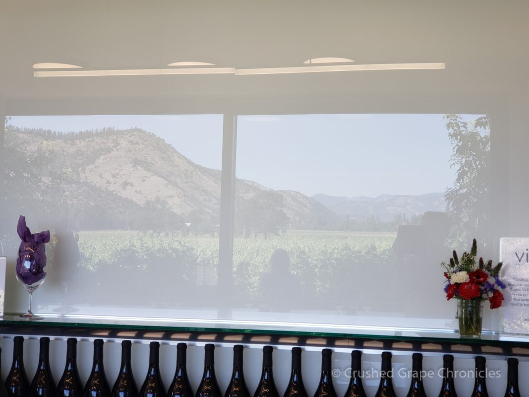 Reflection of the view in the Cowhorn Tasting Room