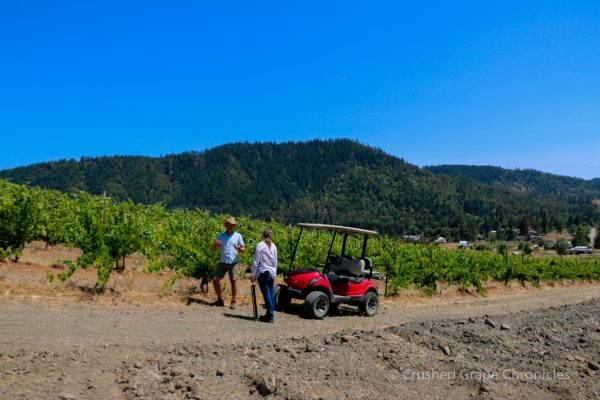 Marc & I by the Sangiovese on the Shale Rock Summit Vineyard at Girardet