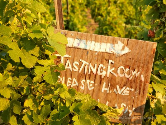 Signs from the hiking trails guide you to the tasting room at Wilridge Vineyard