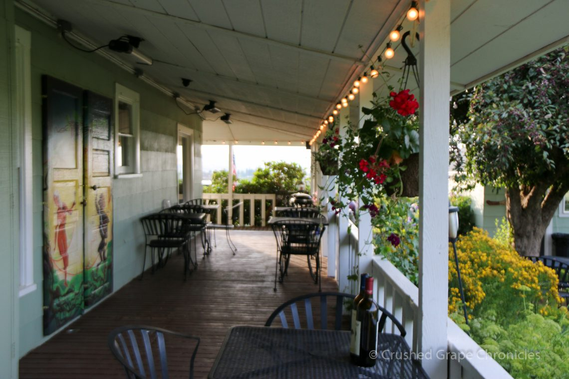 The Porch at Wilridge Vineyard on the 100 year old Farmhouse
