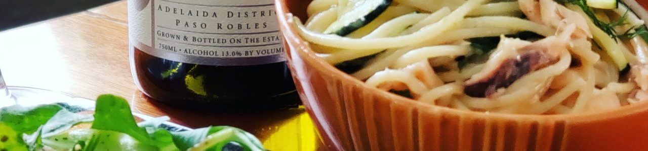 Tablas Creek 2017 Vermentino and Smoked trout pasta