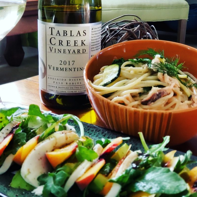 Tablas Creek 2017 Vermentino and Smoked trout pasta