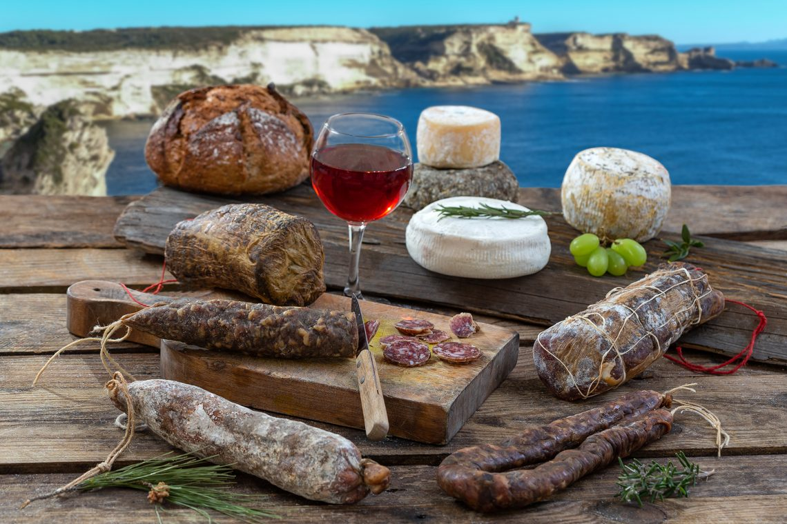Local wild pork delicatessen, and corsican cheese,
