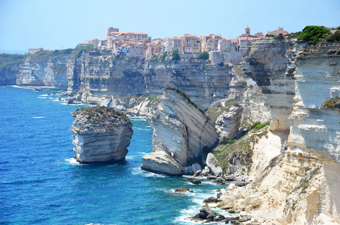 Corsican village of Bonifacio on the cliff side