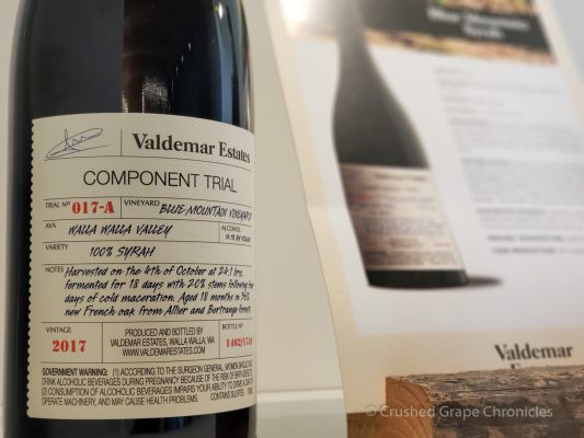 Valdemar Estates Component Trial 2017 Syrah Walla Walla Valley
