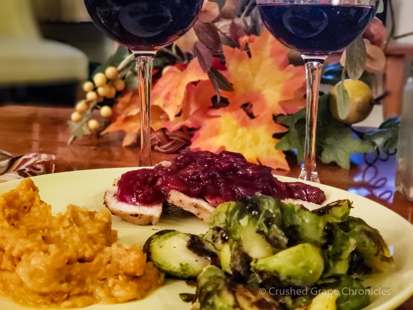 Rasteau Rouge with turkey, sweet potatoes and seared brussel sprouts.