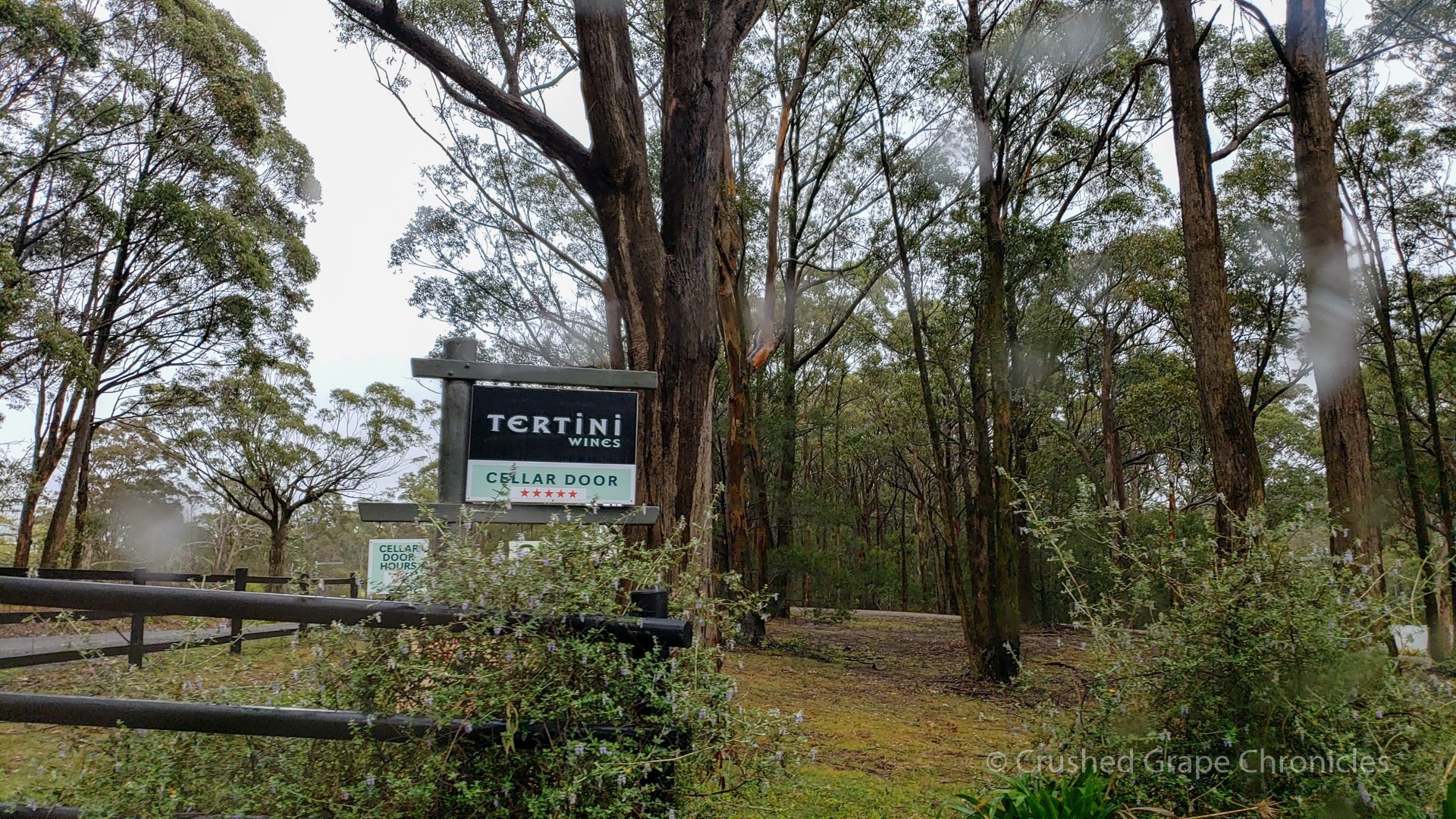 The Tertini entrance sign, unpretentiously nestled in the trees Southern Highlands New South Wales Australia