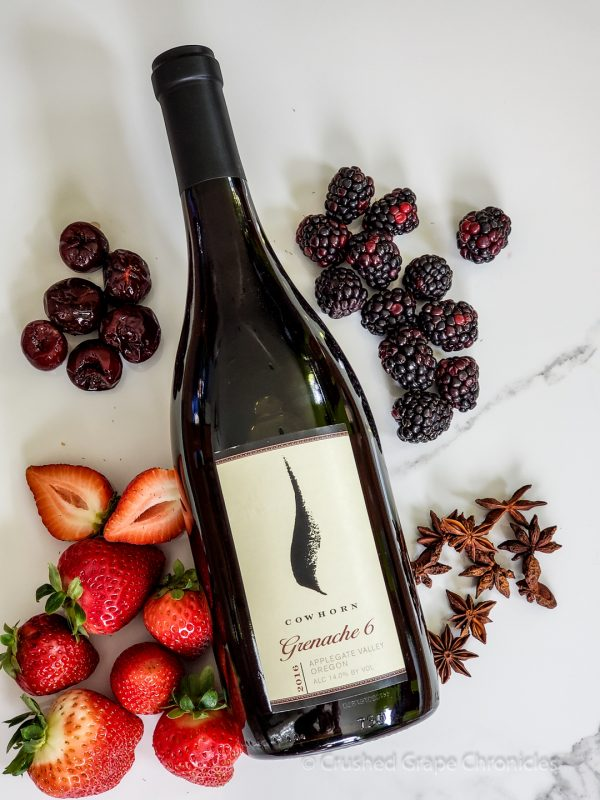 Cowhorn 2016 Grenache 6 with notes of black cherry, blackberry, strawberry and anise.