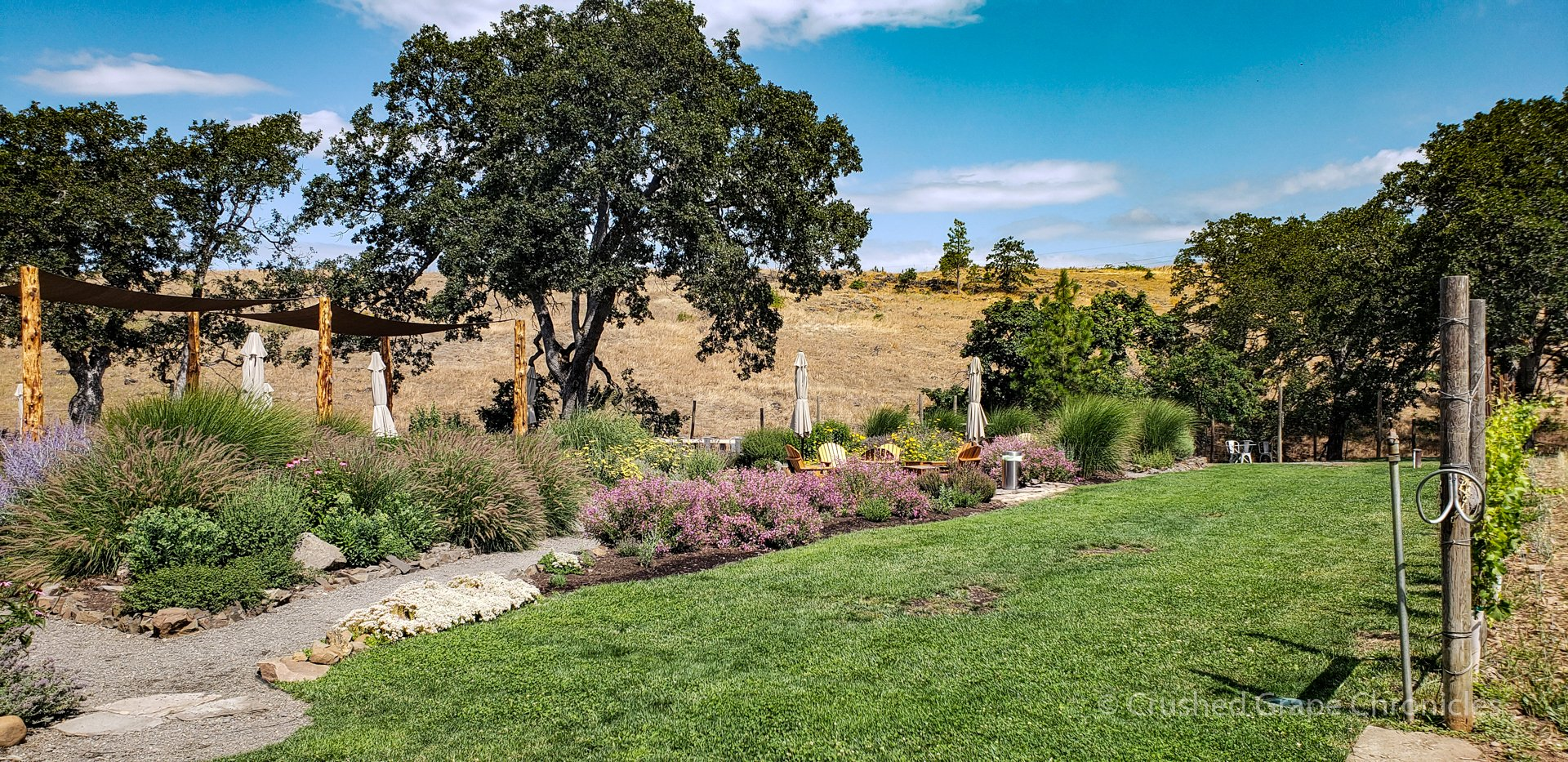 The garden at the Syncline tasting room in Washington's Columbia Gorge AVA