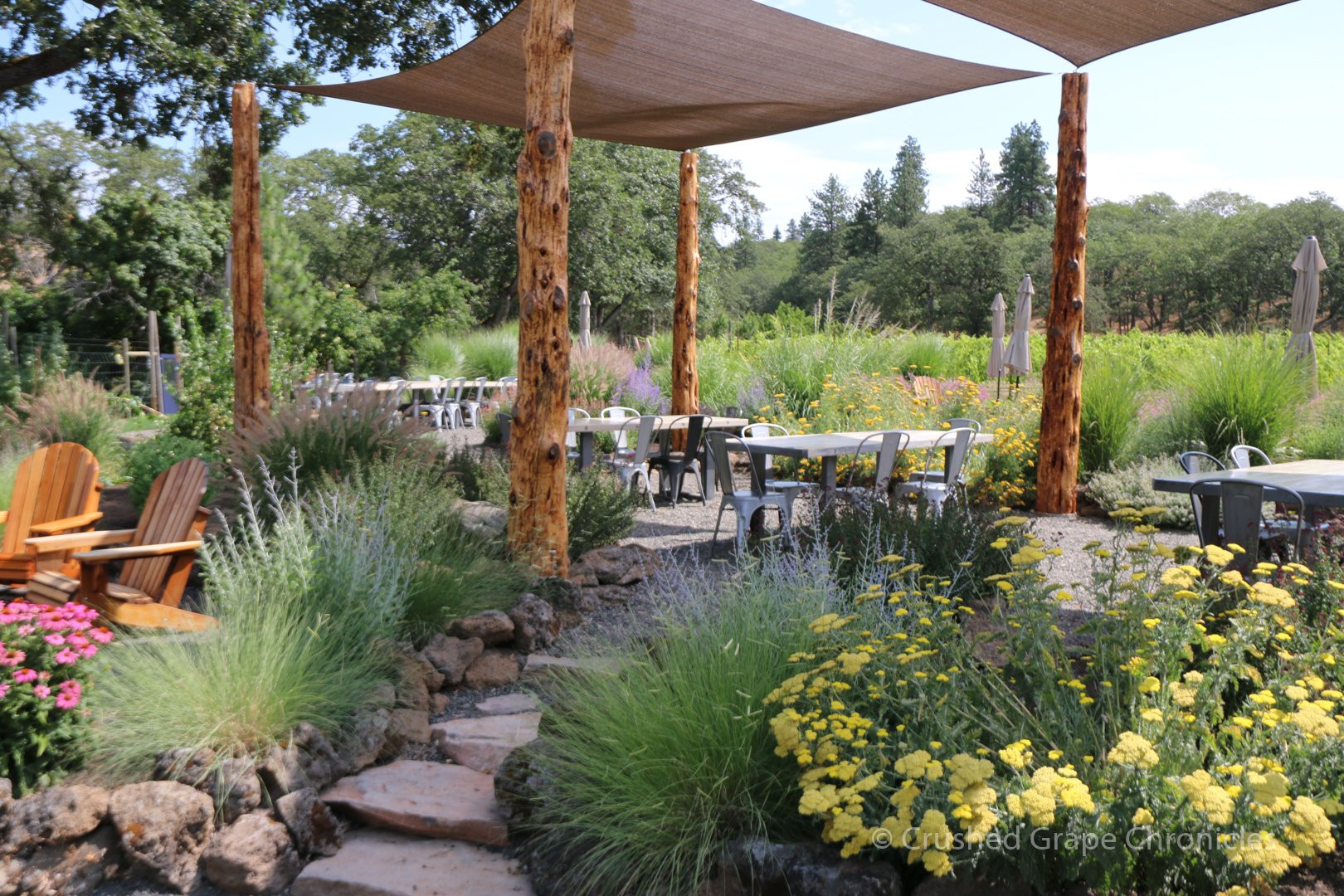 Syncline Wine's tasting garden in the Columbia Gorge AVA
