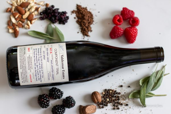 Valdemar Estate 2017 Blue Mountain Syrah with notes of spice, fresh sage, crushed almonds, bramble fruit, blueberries, pepper and cocoa.