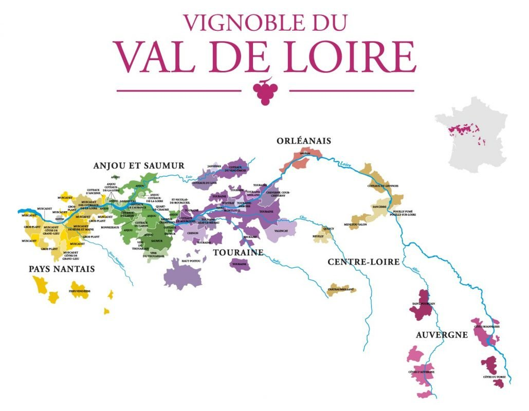 Map of the wine regions of the Loire Valley