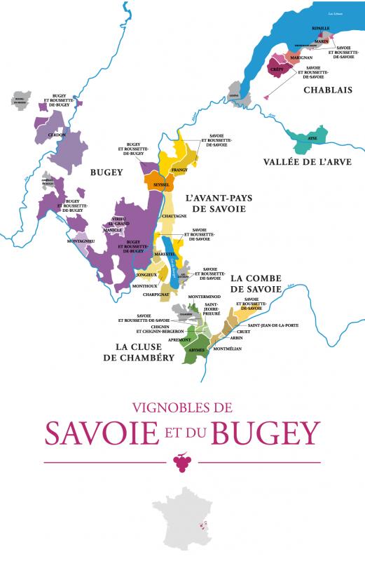 Carte du Vignoble de Savoieet du Bugey