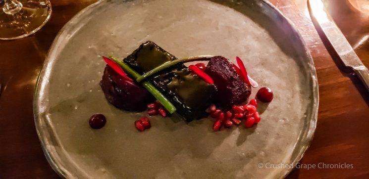 Dinner at Muse entre Slow cooked lamb breast, black garlic glaze, fresh and salt baked beetroot, garlic shoots Hunter Valley NSW Australia