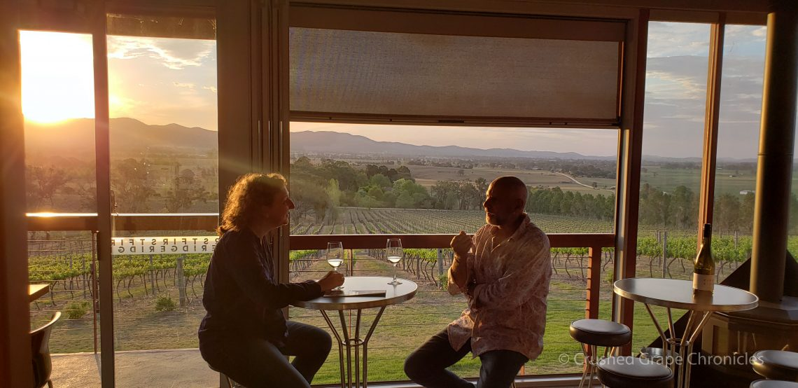 Sipping First Ridge Prosecco with Col in Mudgee NSW Australia