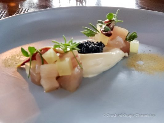 2nd course Muse Petuna ocean trout served raw, smoked bonito mousse, Hunter Valley NSW Australia