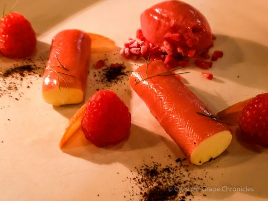 Dessert at Muse Raspberry, white chocolate, rhubarb, wild fennel, liquorice Hunter Valley NSW Australia