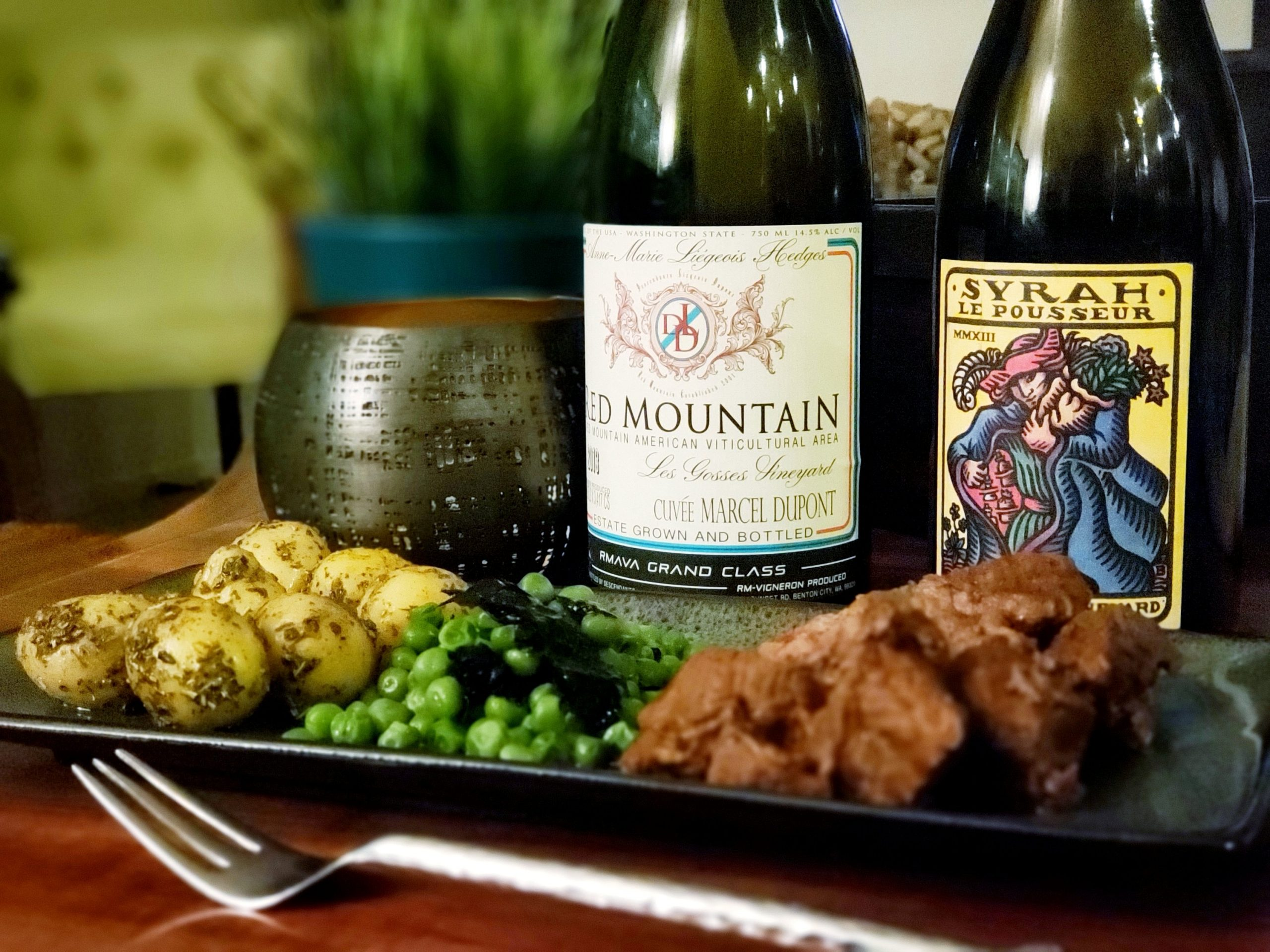 2013 Descendants Liegeois Dupont Red Mountain Syrah from Hedges Family Estate and Bonny Doon 2013 Le Pousseur syrah, mostly from Bien Nacido with bbq, peas and roasted herbed potatoes