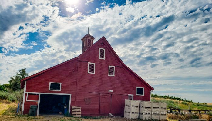 Armstrong Family Winery Barn at the Valley Grove Vineyard built in 1895 with clouds above
