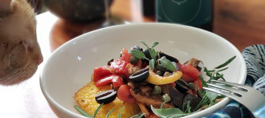 Polenta with Roasted vegetables Larner 2017 Elemental and Loki