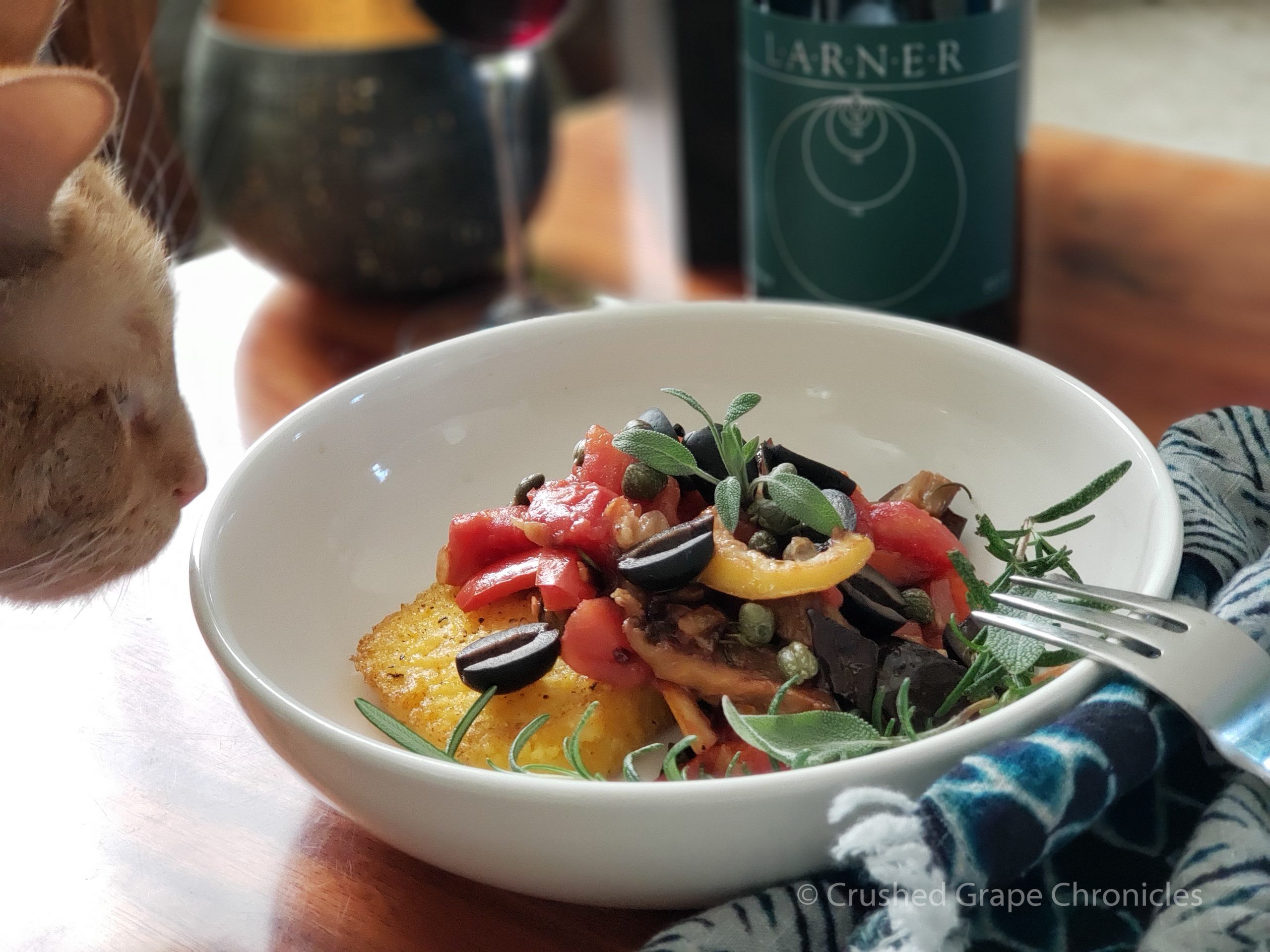 Polenta with Roasted vegetables Larner 2017 Elemental and Loki