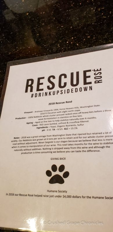 Rescue Rosé notes fro Upsidedown Wine