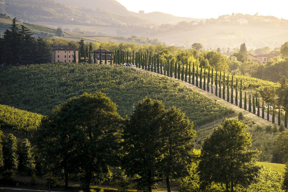 Castelvetro di Modena hills at sunset. Castelvetro, Modena province, Emilia Romagna, Italy © stefanotermanini/Adobe stock