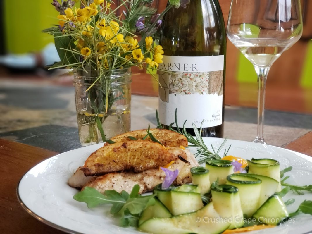 Seared Sous Vide Chicken with zucchini salad and a 2018 Larner Viognier.