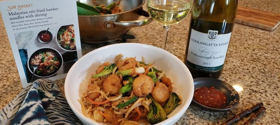 Coolangatta Semillon with Malaysian stir-fried hawker noodles with shrimp