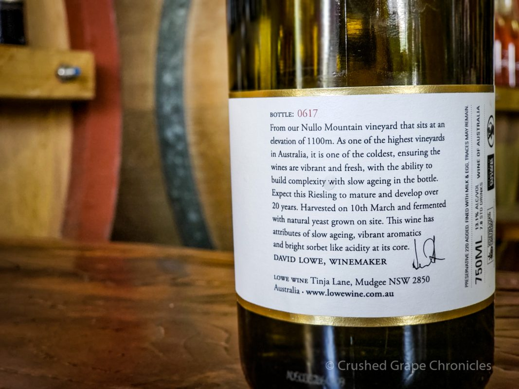 Lowe Wine 2015 Riesling Nullo Mountain back label Mudgee NSW Australia